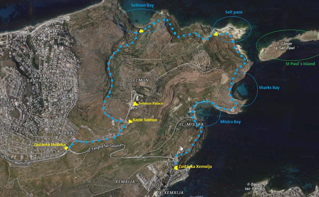 Mapa jak k Selmun Bay